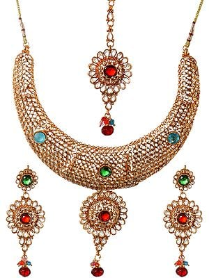 Polki Necklace Set with Tika