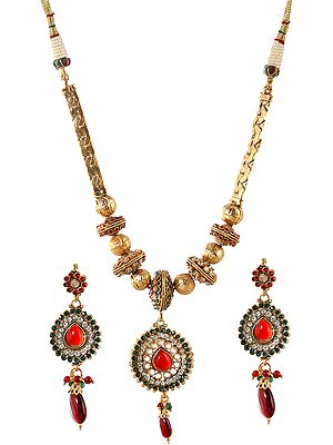 Tri-Color Polki Beaded Necklace with Earrings Set