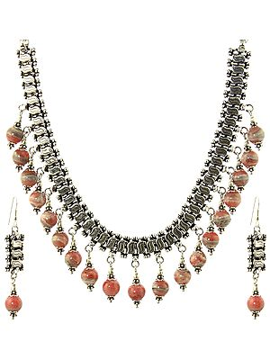 Rhodochrosite Necklace and Earrings Set