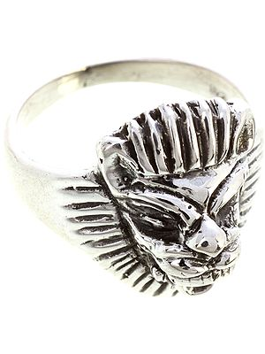 Sterling Lion Face Ring