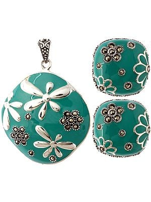 Enameled Fertility Pendant with Marcasite and Earrings Set