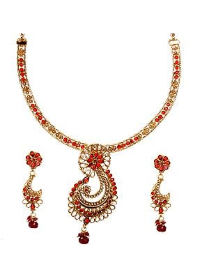 Garnet-Red Polki Necklace Set with Faux Pearl and Designer Paisley Pendant