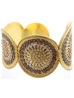 Sterling Gold Plated Medallion Bracelet with Granulation Work