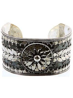 Sterling Vegetative Cuff Bracelet with Granulation Work