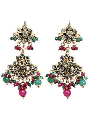 Kundan Earrings with Faux Emerald and Ruby