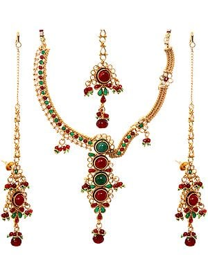 Faux Emerald and Ruby Necklace Set with Tika