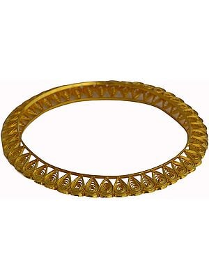 Gold Plated Bridal Bangle of Sterling Silver