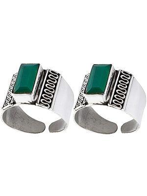 Green Onyx Toe Rings (Price Per Pair)