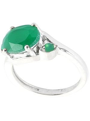 Faceted Green Onyx Ring