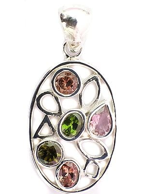 Faceted Pink and Green Tourmaline Pendant