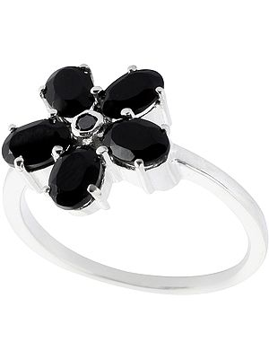 Faceted Black Spinel Ring