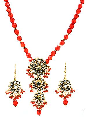 Tomato Red Kundan Beaded Necklace Set with Earrings