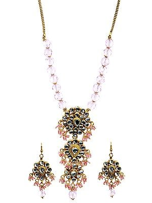 Powder Pink Beaded Necklace Set with Earrings