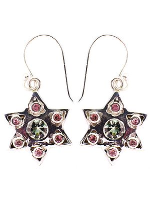 Faceted Pink and Green Tourmaline Star Earrings