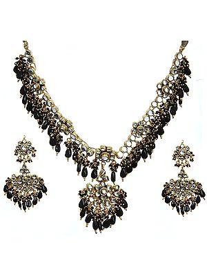 Black Kundan Beaded Necklace Set with Earrings
