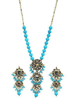 Cyan Blue Kundan Beaded Necklace Set with Earrings