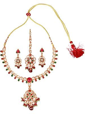 Faux Ruby and Emerald Necklace Set with Mang Tika
