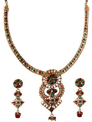 Faux Ruby and Emerald Necklace Set