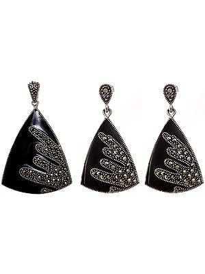 Black Marcasite Pendant with Earrings Set