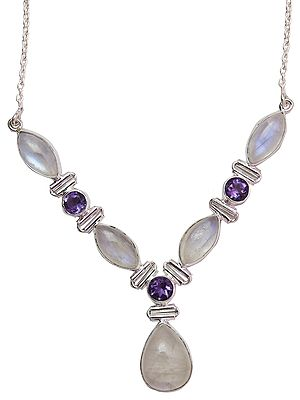 Rainbow Moonstone Necklace with Faceted Amethyst