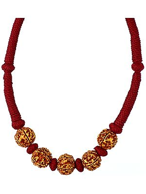 Rudraksha Necklace with Maroon Cord