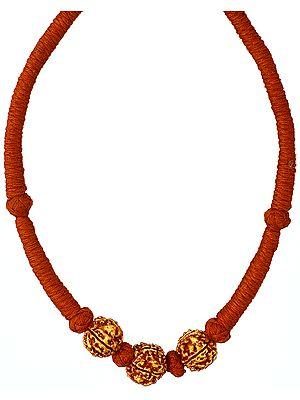Rudraksha Necklace with Orange Cord