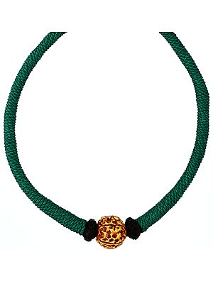 Rudraksha Necklace with Green Cord