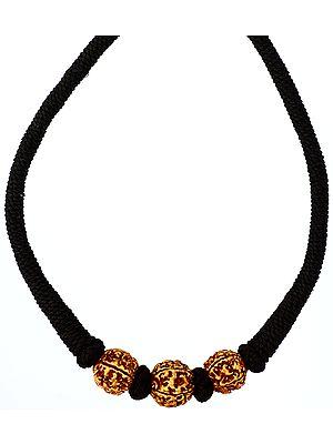 Rudraksha Necklace with Black Cord