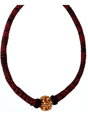 Rudraksha Necklace with Maroon and Black Cord