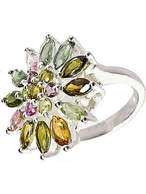 Faceted Tourmaline Flower Ring (Mixed Color)