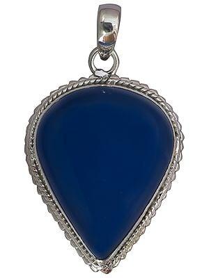 Blue Chalcedony Inverted Teardrop Pendant