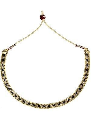 Polki Blue Choker with Cut Glass