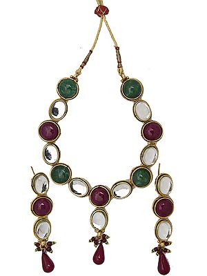 Faux Ruby and Emerald Set with Kundan earring-and-endant-set