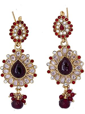 Garnet-Red Polki Earrings