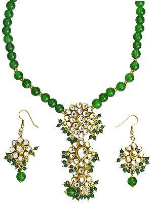 Islamic-Green Beaded Necklace Set with Kundan