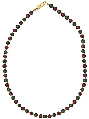Faux Ruby and Emerald Beaded Chain (necklace)