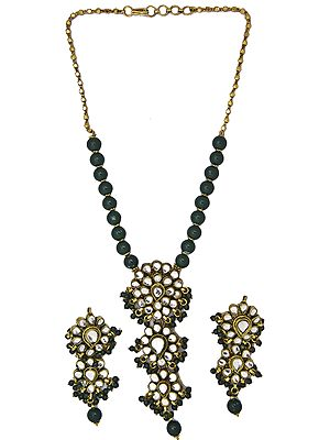 Faux Emerald Beaded Necklace Set with Kundan