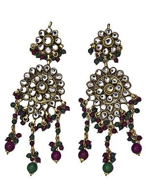 Kundan Earrings with Faux Ruby and Emerald