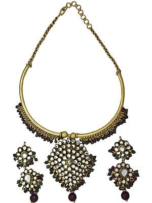 Kundan Gold Plated Necklace Set with Faux Ruby and Emerald