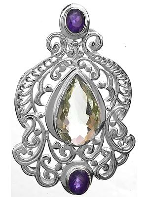 Faceted Green Amethyst and Amethyst Art Noveau Pendant