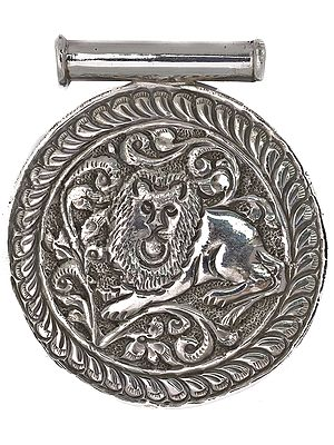 Sterling Shield Pendant with Carved Lion