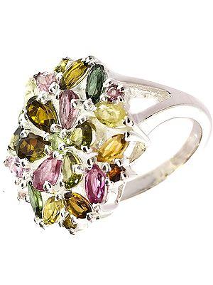 Faceted Tourmaline Ring (Mixed Hues)
