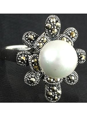 Pearl Ring with Marcasite