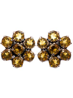 Faceted Citrine Sunflower Earrings