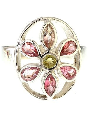Faceted Pink and Green Tourmaline Ring