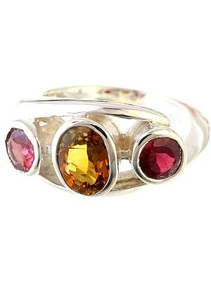 Faceted Pink and Petro Tourmaline Ring