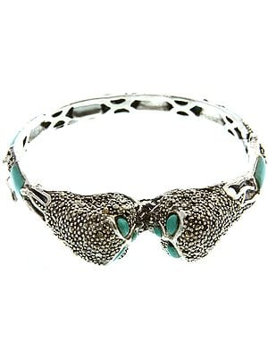 Kissing Owls Inlay Bracelet with Marcasite