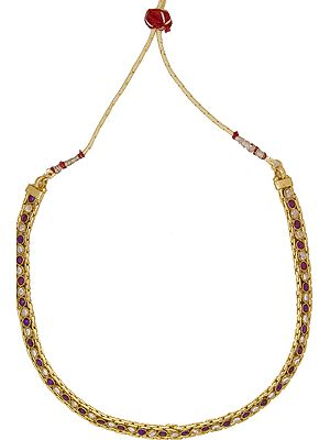 Faux Ruby  Choker with Cut Glass