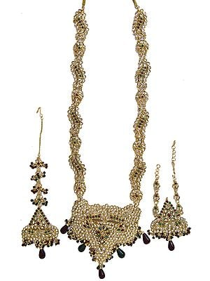 Polki Wedding Necklace with Mang Tika and Bracelet