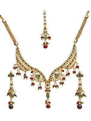 Tri-Color Polki Necklace Set with Mang Tika